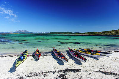 Norway Sea Kayaks On A Coral-sand Beach Art Print by Fredrik Norrsell