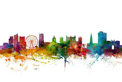 England Digital Art - Nottingham England Skyline by Michael Tompsett