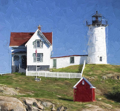 Cape Neddick Lighthouse Photograph - Nubble Lighthouse Maine Painterly Effect by Carol Leigh