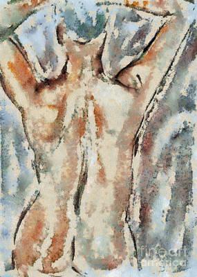 Female Nude Mixed Media - Nude Figure by Michal Boubin