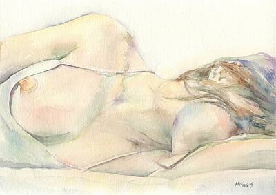Nude Marilyn Monroe Painting - Nude Model - Watercolor 01 by Marina Sotiriou
