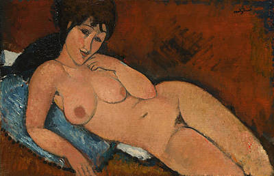 Nude On A Blue Cushion Art Print by Amedeo Modigliani
