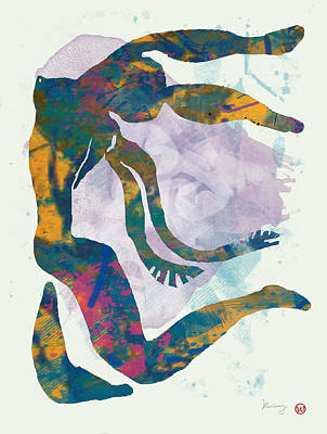 Saxophone Drawing - Nude Pop Art Paper Cut Poster by Kim Wang