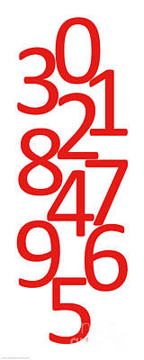 Digital Art - Numbers In Red And White by Jackie Farnsworth