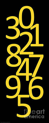 Digital Art - Numbers In Yellow And Black by Jackie Farnsworth