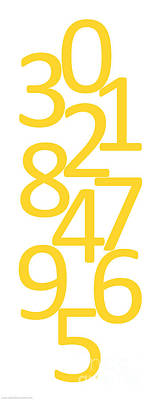 Digital Art - Numbers In Yellow by Jackie Farnsworth