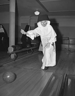 Indoor Photograph - Nuns Bowling by Underwood Archives