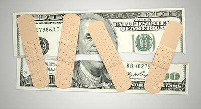 Equal Digital Art - Nursed Torn Us Dollar by Allan Swart