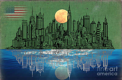Abstract Skyline Mixed Media - NYC Skyline by Celestial Images