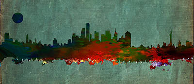 City Scenes Drawings - NYC Skyline by Celestial Images