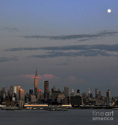 Photograph - Nyc Skyline With Moon by Kathy Flood