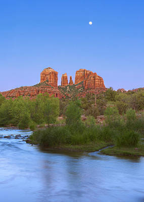 Oak Creek And Cathedral Rock Sunset-moonrise Art Print by Brian Knott - Forget Me Knott Photography