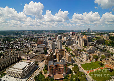Oakland Pitt Campus With City Of Pittsburgh In The Distance Art Print by Amy Cicconi