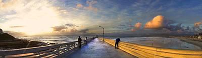 San Diego Artist Digital Art - Ocean Beach Pier by Kenny Noddin