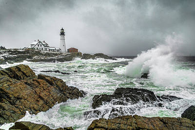 Coastal Maine Photograph - Ocean Storm At Portland Head by Benjamin Williamson
