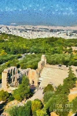 Painting - Odeon Of Herodes Atticus  by George Atsametakis