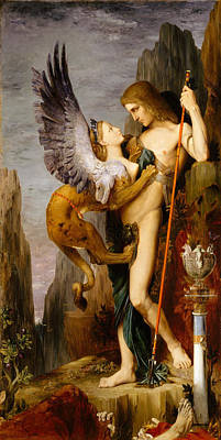 Oedipus And The Sphinx Painting - Oedipus And The Sphinx by Gustave Moreau
