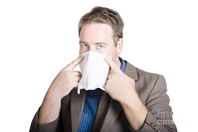 Infectious Photograph - Office Man Avoiding Contagious Flu Like The Plague by Jorgo Photography - Wall Art Gallery