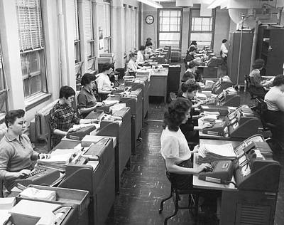 Office Workers Entering Data Art Print by Underwood Archives