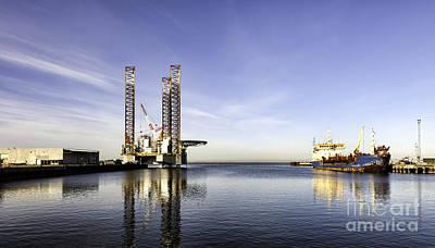 Offshore Drilling Rig In Esbjerg Harbor Denmark Art Print