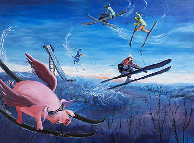 Flying Pig Painting - Oh Of Course I Will by Holly Stone