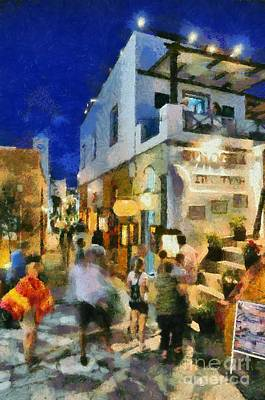 Painting - Oia Town By Night by George Atsametakis