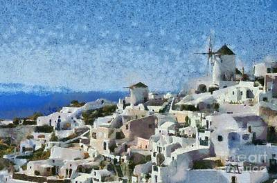 Windmills Painting - Oia Town by George Atsametakis