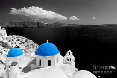Oia Town On Santorini Island Greece Blue Dome Church Black And White. Art Print