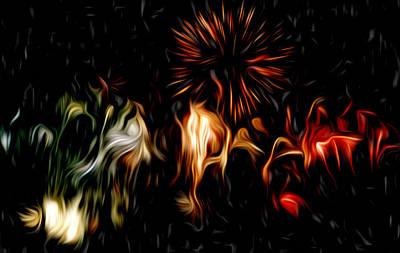 Oil Fireworks Art Print by Stefan Petrovici