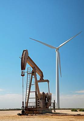 Oil Pumps Photograph - Oil Pump And Wind Turbines by Jim West