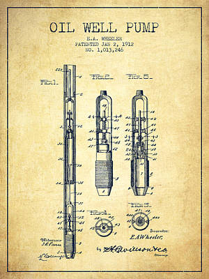 Oil Well Pump Patent From 1912 - Vintage Art Print by Aged Pixel