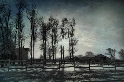 Digital Art - Winter Sunrise On The Farm Textured by Thomas Woolworth