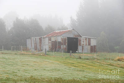 Photograph - Old Barn In The Mist by Fran Woods