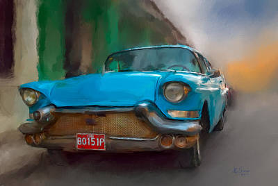 Art Print featuring the photograph Old Blue Car by Juan Carlos Ferro Duque