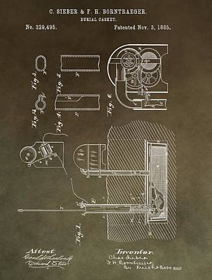 Horror Movies Mixed Media - Old Casket Patent by Dan Sproul