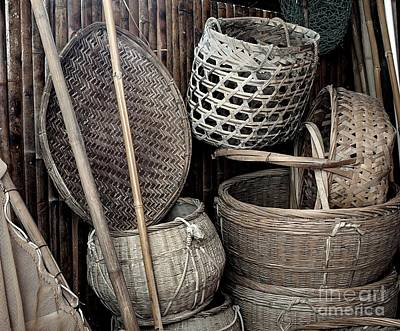 Bamboo Photograph - Old Chinese Farm Tools by Yali Shi