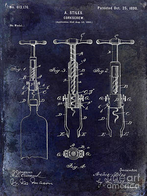 Cocktails Photograph - 1898  Corkscrew Patent Drawing by Jon Neidert