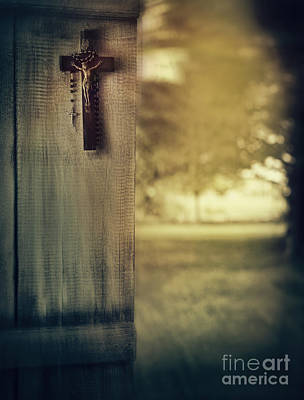 Old Cross Of Window Shutter Door Art Print by Sandra Cunningham