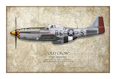 Old Crow P-51 Mustang - Map Background Art Print by Craig Tinder