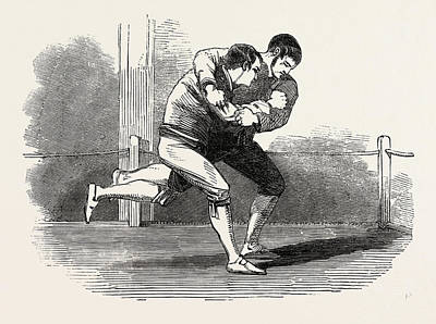 Wrestling Drawing - Old English Sports At Saville House, Leicester Square by English School