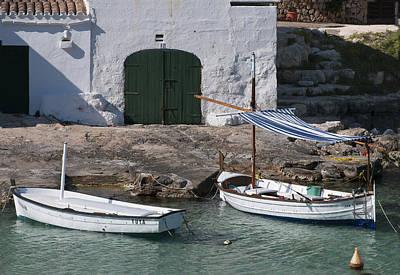 Fish Photograph - Typical Mediterranean Fishermen Boat And House In Minorca Island - Old Fishermen Villa by Pedro Cardona