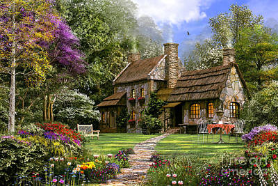 Rural Scenes Digital Art - Old Flint Cottage by Dominic Davison