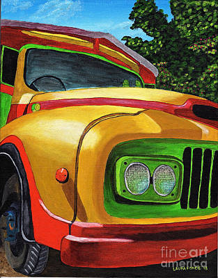 Painting - Old Grenadian Bus by Laura Forde
