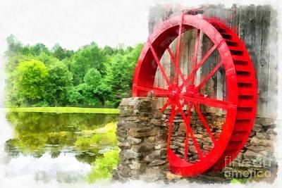 Old Grist Mill Vermont Red Water Wheel Art Print by Edward Fielding