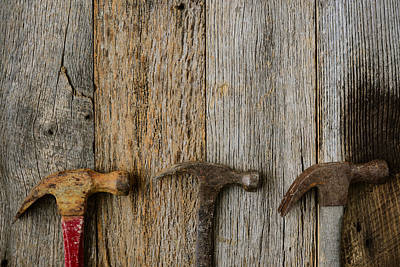 Old Hammers On Rustic Wood Background Art Print