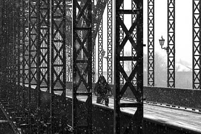 Snowfall Photograph - Old Harburg Bridge by Alexander Sch?nberg