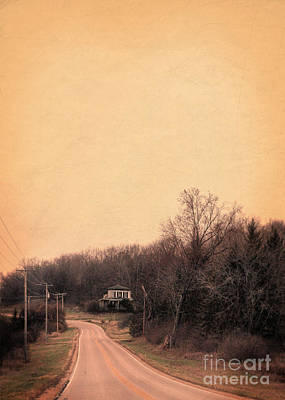 Telephone Poles Photograph - Old House On Rural Road by Jill Battaglia