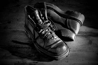 Shoe Photograph - Old Leather Shoes by Fabrizio Troiani