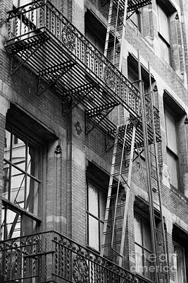 Old Metal Fire Escape Staircase On Side Of Building Greenwich Village New York City Art Print by Joe Fox