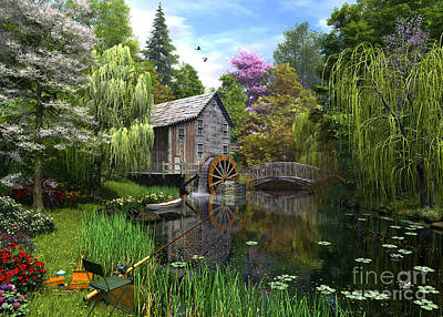 Rural Digital Art - Old Mill by Dominic Davison